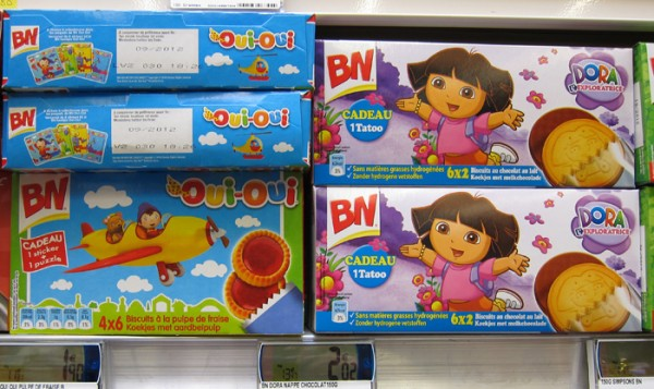 Cookies for kids on shelf in France