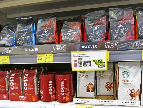 Tesco, Costa and Starbucks Coffee Blends at the Supermarket