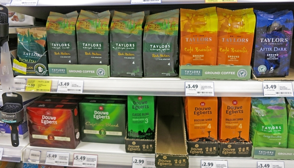 Several Coffee Blends on a Supermarket Shelf