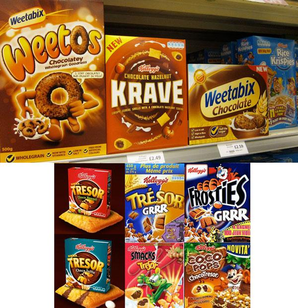 Different Cereals brands boxes