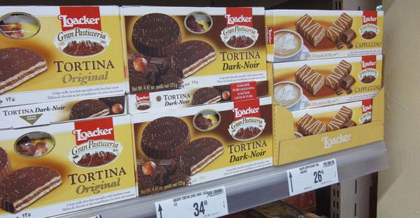 Loacker Biscuits on an Italian Supermarket shelf