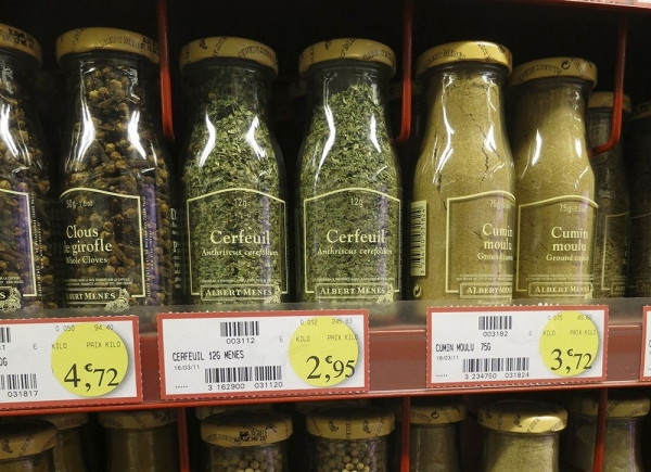 Spices Bottles in a French Supermarket