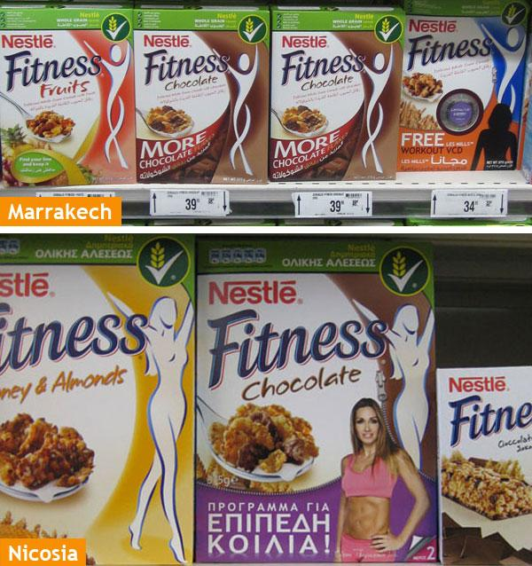 Cereals section comparative Marrakech vs Nicosia supermarkets