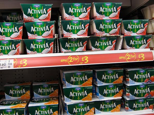Activia yoghurt on supermarket shelf