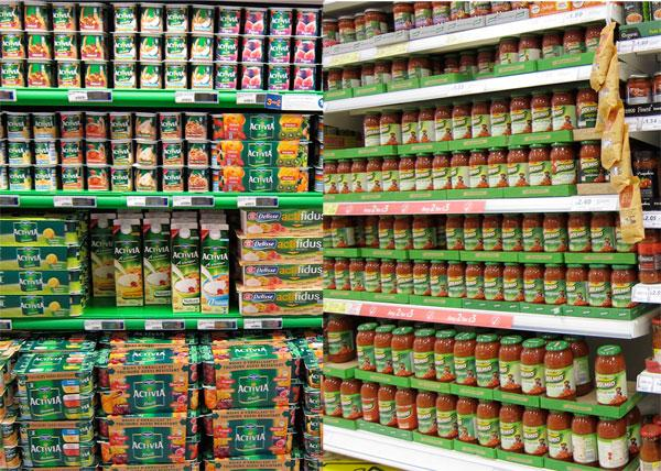 Activia and Dolmio shelves on supermarket