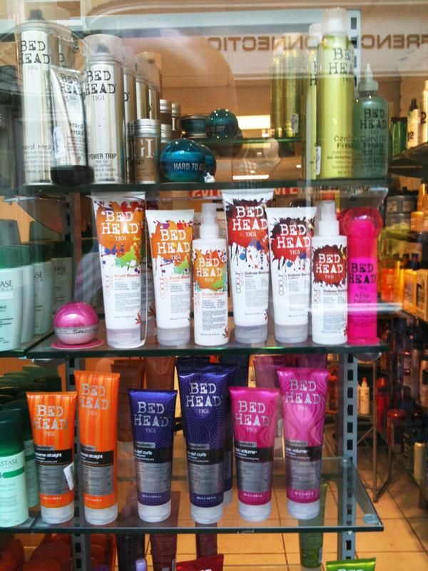 Bed head products on a shop window
