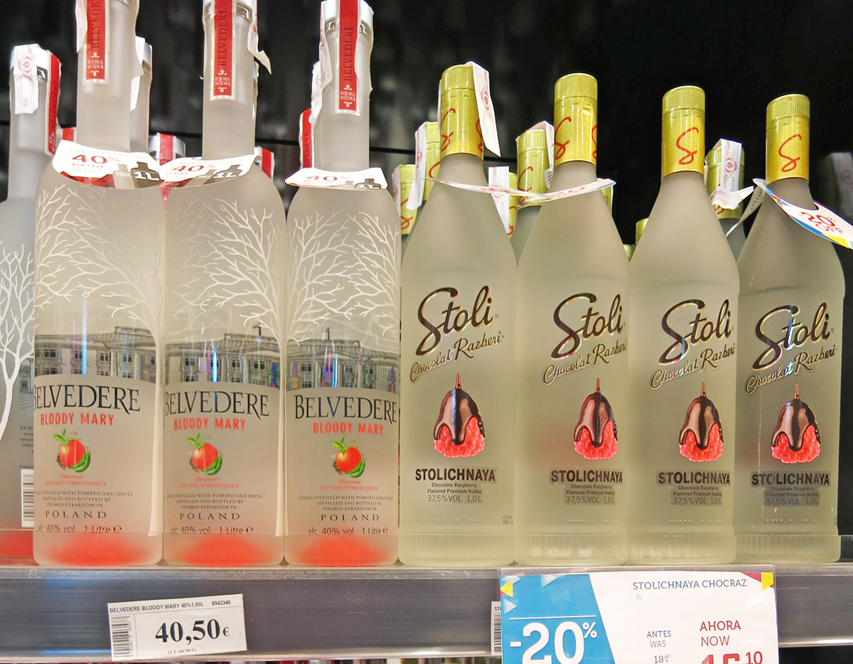 Belvedere and Stoli flavoured Vodka