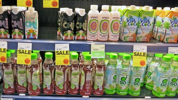 Coconut water based drinks on shelf