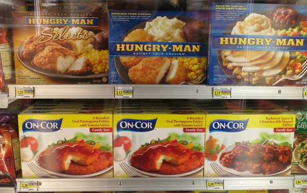 Hungry Man Ready Meals on a Supermarket Refrigerator