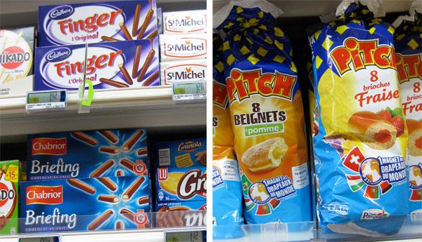 Snacks on a French Supermarket shelf