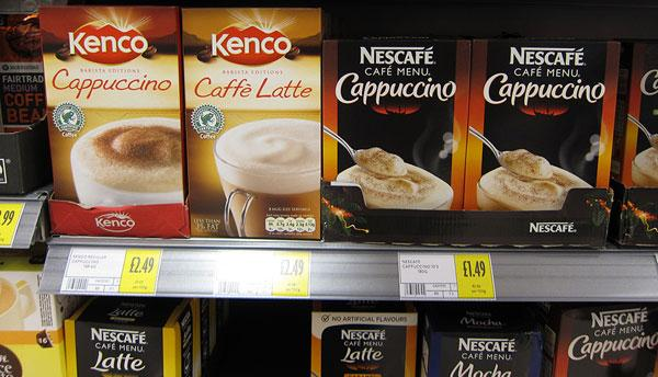 Instant coffee packages on shelf