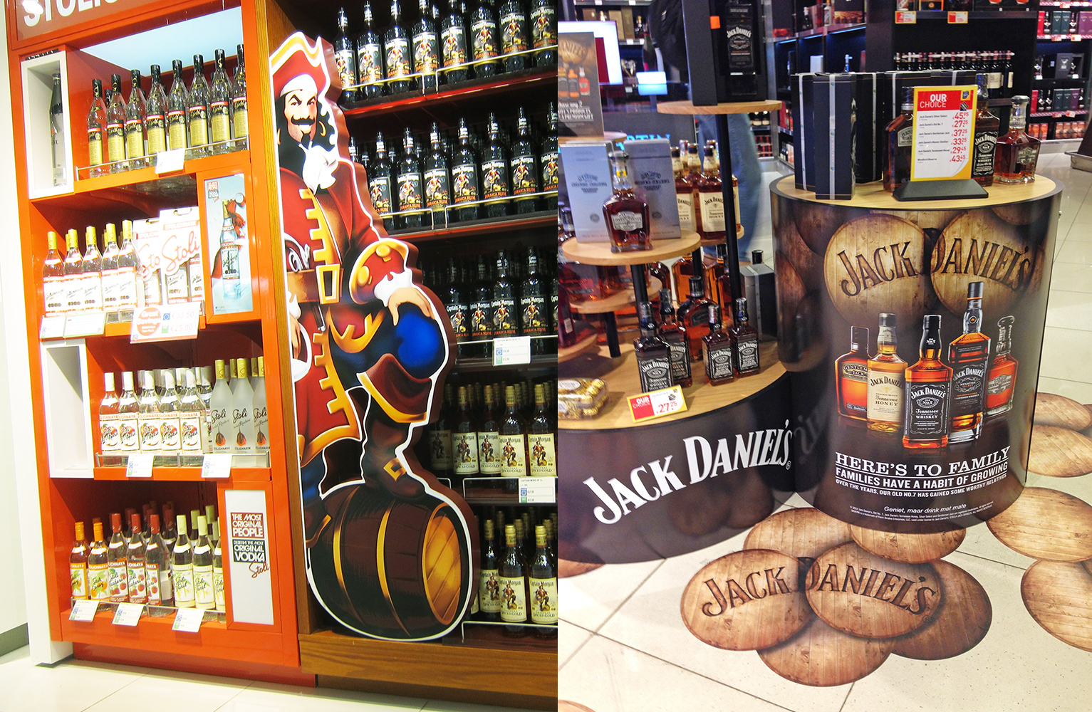 Captain Morgan Spiced Rum and Jack Daniel's displays