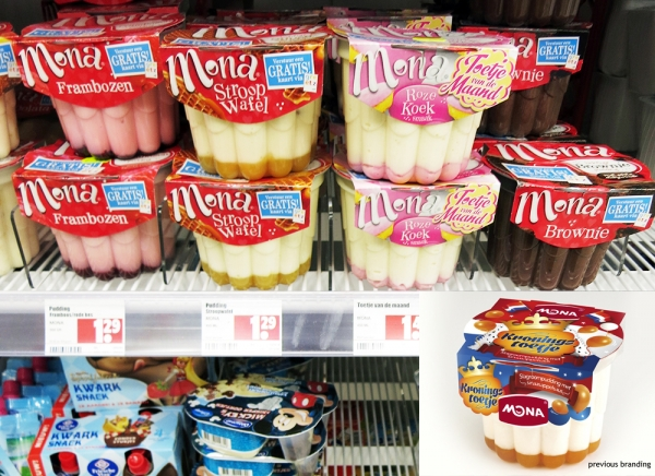 Dutch brand Mona desserts on shelf in a Dutch supermarket