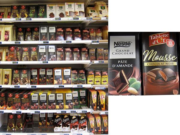 Chocolate tablets section