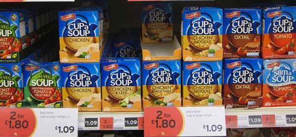 Cup a soup range of products on shelf