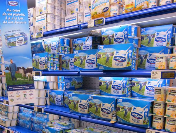 Danone on the yoghurt section of a French supermarket
