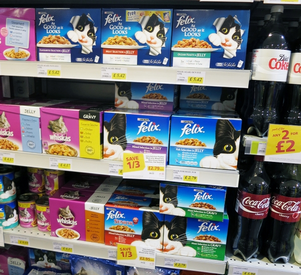 Felix and Whiskas cat food on a Supermarket Shelf