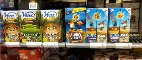 Dutch Cereals for kids on shelf