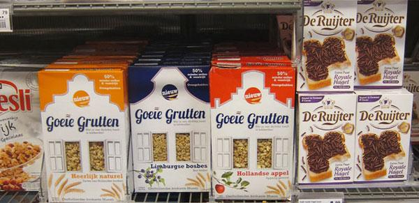 Goeie Grutten muesli pack window in a Dutch supermarket