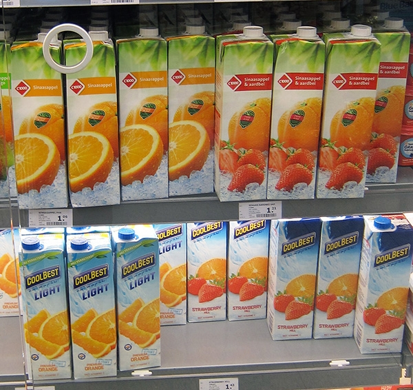 Juices Bottles on Supermarket Shelf