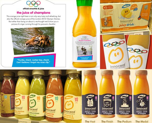 Innocent official smoothie and juice of the London 2012 Olympic and Paralympic games bottle designs