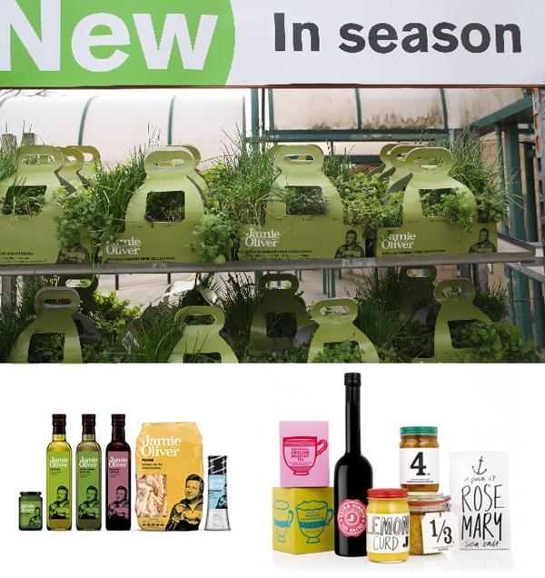 Jaime Oliver home herb kits among other products from his brand