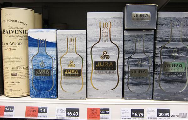 Jura Whisky range of products with different packaging