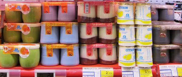 Yoghurts on a French supermarket shelf