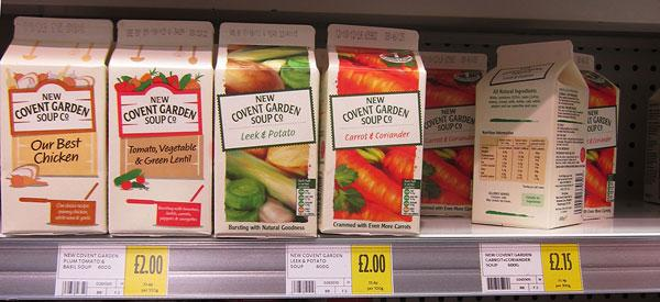 Covent Garden Soup Co carton packages on shelf