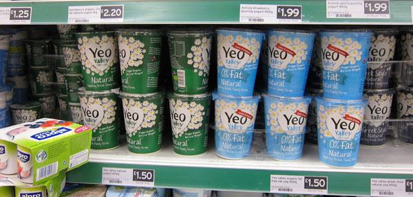 Yeo yoghurt on supermarket shelf