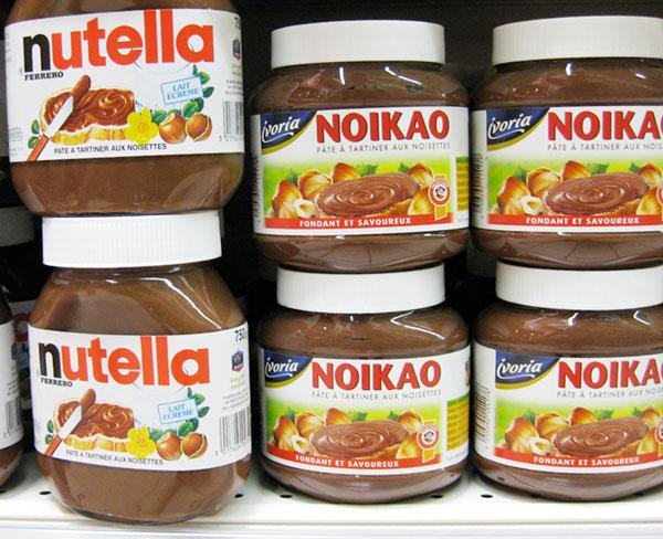 Nutella and Noikao (major brand) in a French Intermarché supermarket
