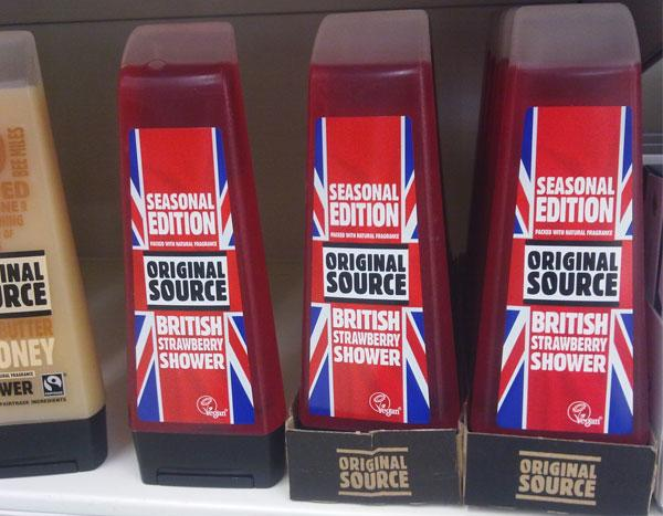 Original Source shower gel Jubilee special edition with Union Jack fllag