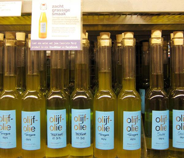 Olive Oil bottles in a Dutch supermarket