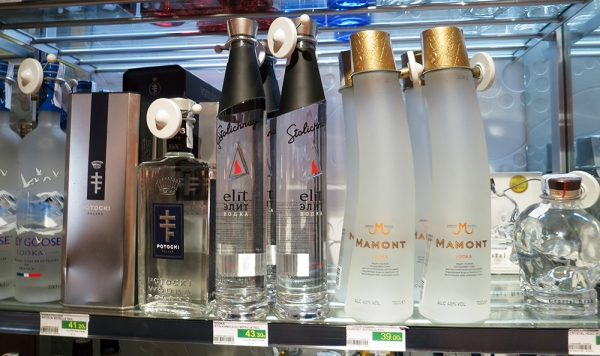 Several Premium Vodka Brands on Shelf