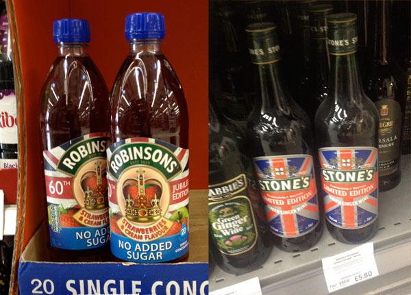 Robinsons and Stones Ginger Wine with Jubilee year special edition bottles design