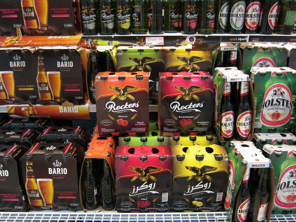 Alcohol-free beer in a supermarket in Saudi Arabia