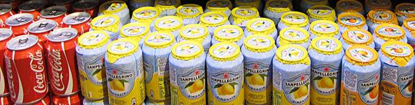 San Pellegrino Limonata cans with foil