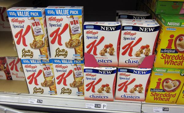 Special K section on a supermarket shelf