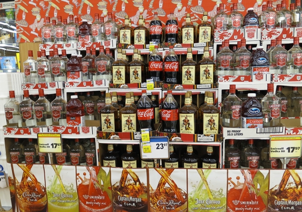 a display with spirits and mixers