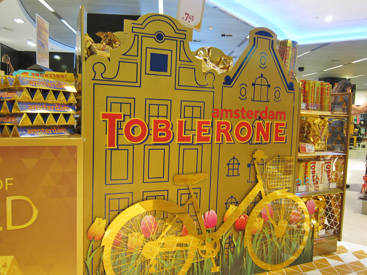 Toblerone's airport display with Amsterdam canal houses shape