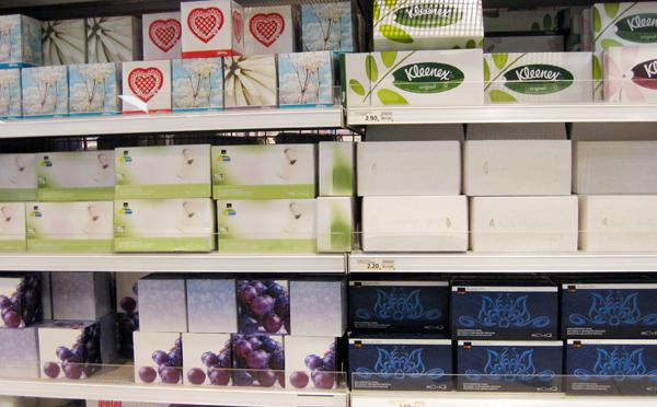 Tissues section in a supermarket