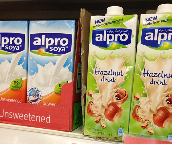 Non dairy drinks (soya and hazelnut) on shelf
