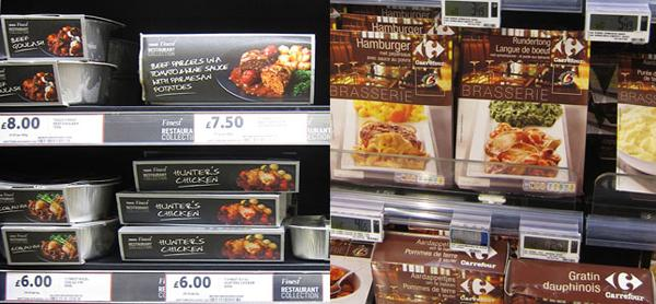 Comparation between Tesco and Carrefour ready meals packaging