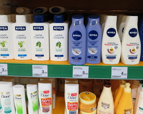Body Lotion Brands on Spanish Supermarket Shelf
