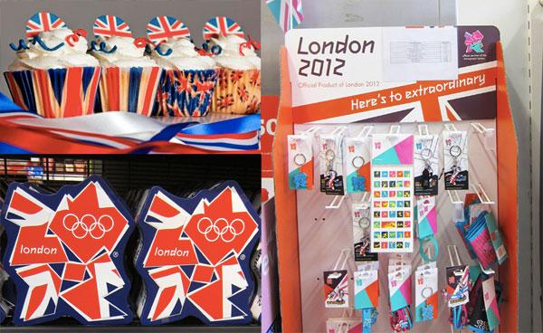 Marks & Spencer's Olympic biscuit tin, Chevler's 'Britannia collection' of cup-cake cases and Official Products of London 2012 being compared