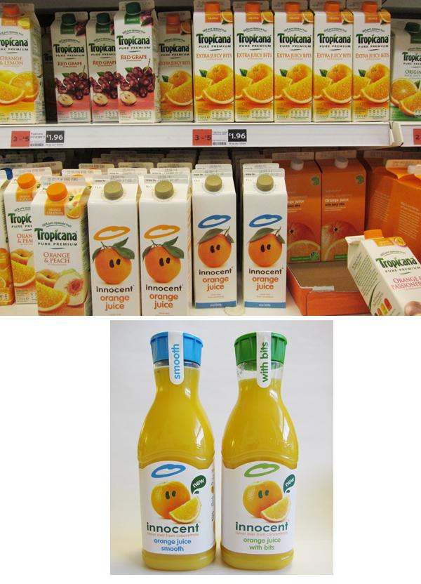 Innocent orange juice old and new design