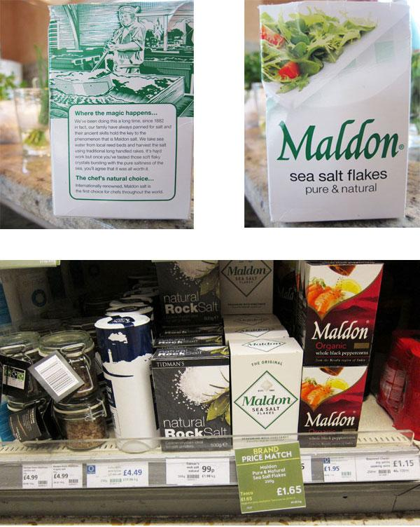Maldon sea salt old and new packaging design