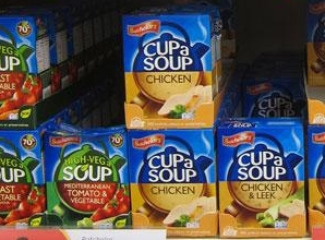 Cup a soup packs on shelf