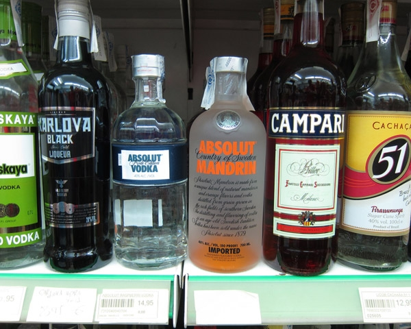 Several Alcoholic Drinks on shelf