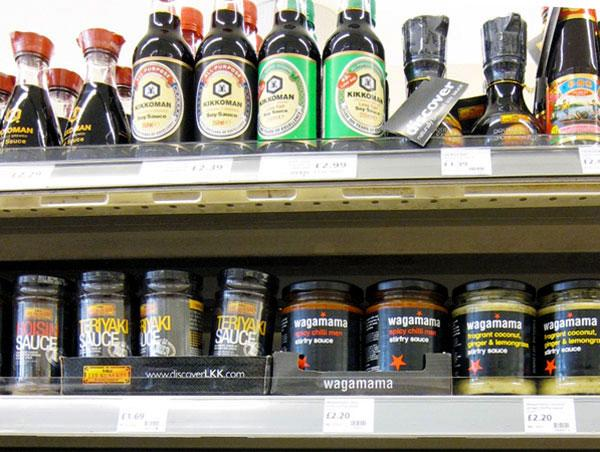 Sauce bottles on shelf